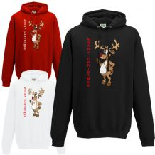 57695a693412 Rudolf Merry Christmas Glitter Nose Hoodie - Retro Rudolph Unisex Hoody  Gift Top
